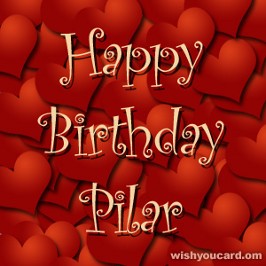 happy birthday Pilar hearts card