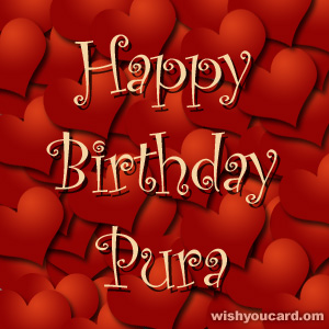 happy birthday Pura hearts card