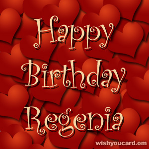 happy birthday Regenia hearts card