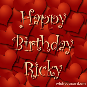 happy birthday Ricky hearts card