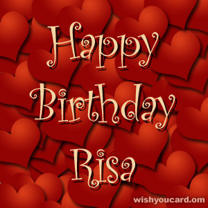 happy birthday Risa hearts card
