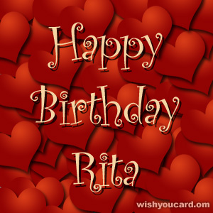 happy birthday Rita hearts card