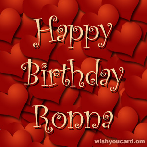 happy birthday Ronna hearts card