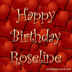 happy birthday Roseline hearts card