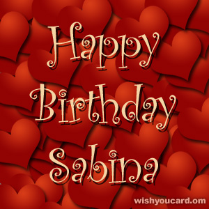 happy birthday Sabina hearts card