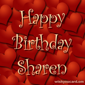 happy birthday Sharen hearts card