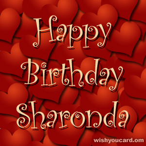 happy birthday Sharonda hearts card