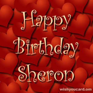 happy birthday Sheron hearts card