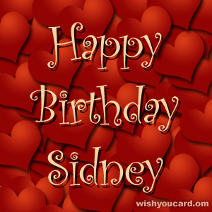 happy birthday Sidney hearts card