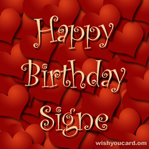 happy birthday Signe hearts card