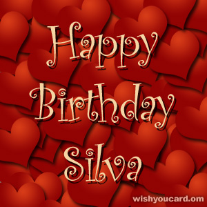 happy birthday Silva hearts card