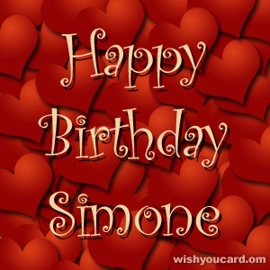 happy birthday Simone hearts card