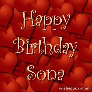 happy birthday Sona hearts card