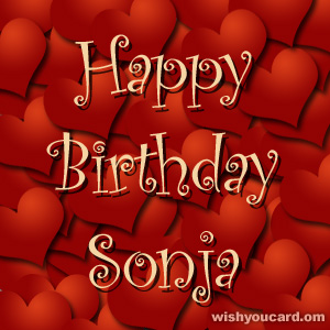 happy birthday Sonja hearts card
