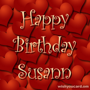 happy birthday Susann hearts card