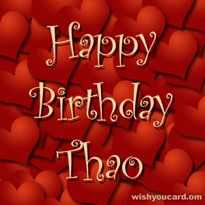 happy birthday Thao hearts card