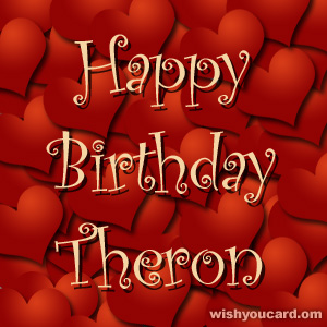 happy birthday Theron hearts card