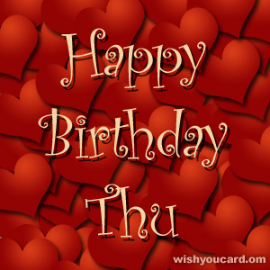 happy birthday Thu hearts card