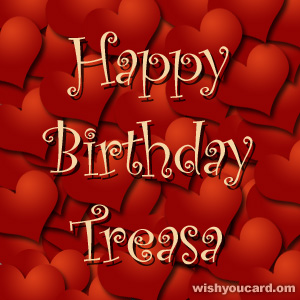 happy birthday Treasa hearts card
