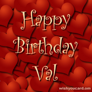 happy birthday Val hearts card