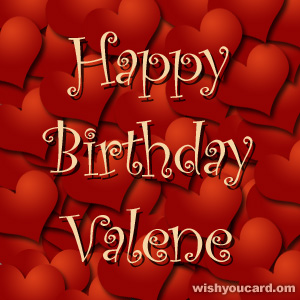 happy birthday Valene hearts card