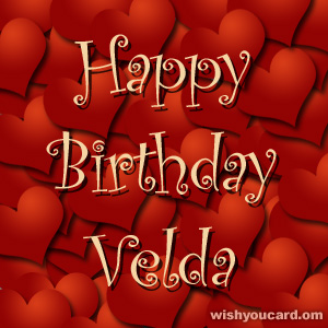 happy birthday Velda hearts card