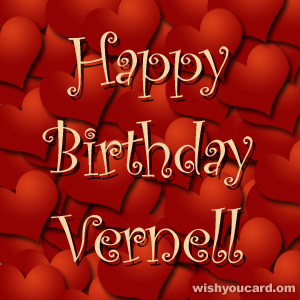 happy birthday Vernell hearts card