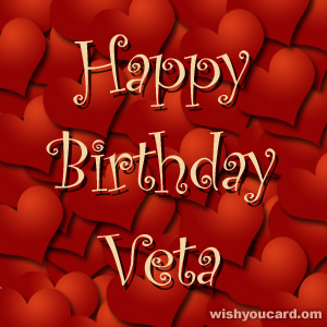 happy birthday Veta hearts card