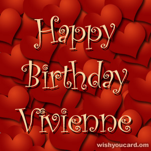 happy birthday Vivienne hearts card