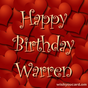 happy birthday Warren hearts card