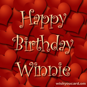 happy birthday Winnie hearts card