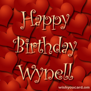 happy birthday Wynell hearts card