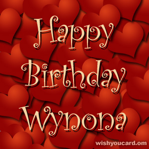 happy birthday Wynona hearts card