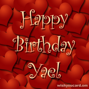 happy birthday Yael hearts card