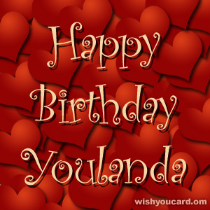 happy birthday Youlanda hearts card