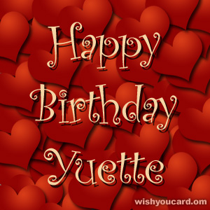 happy birthday Yuette hearts card