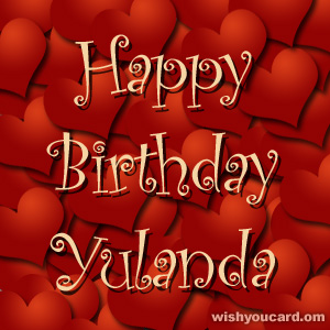 happy birthday Yulanda hearts card