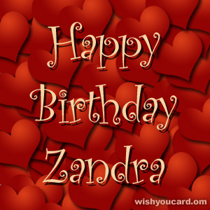 happy birthday Zandra hearts card