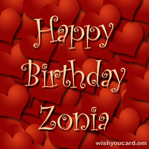 happy birthday Zonia hearts card