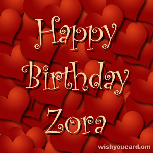 happy birthday Zora hearts card