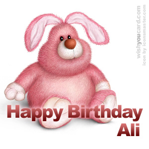 happy birthday Ali rabbit card