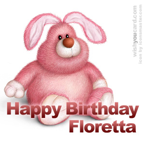happy birthday Floretta rabbit card