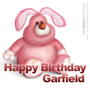 happy birthday Garfield rabbit card