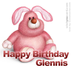 happy birthday Glennis rabbit card