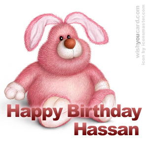 happy birthday Hassan rabbit card
