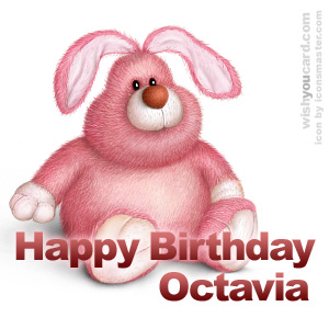 happy birthday Octavia rabbit card