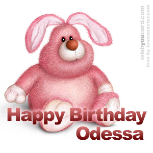 happy birthday Odessa rabbit card