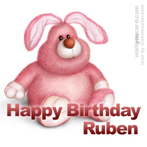 happy birthday Ruben rabbit card