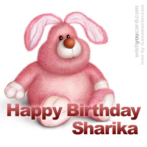 happy birthday Sharika rabbit card