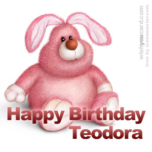 happy birthday Teodora rabbit card